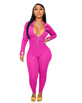 Casual Rose Embroidered Turn-down Neck Zip One Piece Long Sleeve Jumpsuit For Women