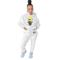 Casual Solid White Offset Printing Sweatsuit Hoodie Set