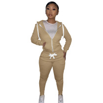 Autumn Winter Khaki Cotton Two Piece Sweatpants and Hoodie Set for Women
