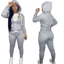 Autumn Winter Grey Cotton Two Piece Sweatpants and Hoodie Set for Women