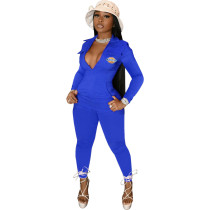 Casual Blue Zipper Pocket Embroidered Notched Collar Women Jumpsuit