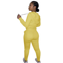 Autumn Winter Yellow Cotton Two Piece Sweatpants and Hoodie Set for Women