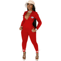 Casual Red Zipper Pocket Embroidered Notched Collar Women Jumpsuit