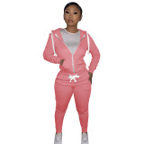 Autumn Winter Pink Cotton Two Piece Sweatpants and Hoodie Set for Women