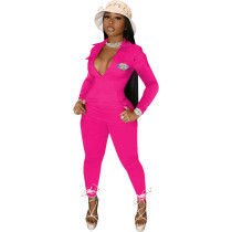 Casual Rose Zipper Pocket Embroidered Notched Collar Women Jumpsuit