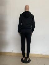 Casual Solid Black Offset Printing Sweatsuit Hoodie Set