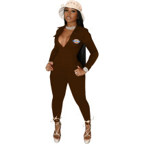 Casual Coffee Zipper Pocket Embroidered Notched Collar Women Jumpsuit