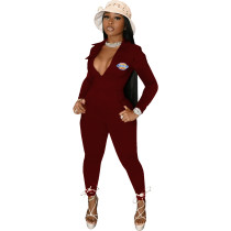 Casual Wine Red Zipper Pocket Embroidered Notched Collar Women Jumpsuit