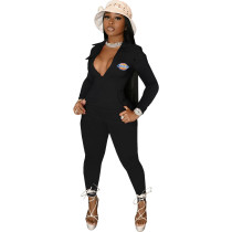 Casual Black Zipper Pocket Embroidered Notched Collar Women Jumpsuit