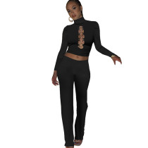 Casual Black High Neck Hollow Out Solid Color 2 Piece Fall Set For Women
