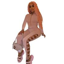 Cutout Bandage Women Full Sleeve Long Pant Set Solid Color Female Casual Tracksuit Set