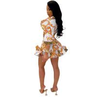 White Digital Print Skirt Set Ruffled Hem Knotted Two Piece Dresses