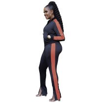 Casual Black Zipper High Neck Joggers Two Piece Pants Sets Women 2021 For Fall and Winter