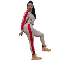 Casual Ivory Zipper High Neck Joggers Two Piece Pants Sets Women 2021 For Fall and Winter
