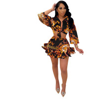 Black Digital Print Skirt Set Ruffled Hem Knotted Two Piece Dresses