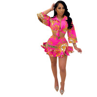Rose Digital Print Skirt Set Ruffled Hem Knotted Two Piece Dresses