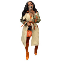 Autumn Winter Casual Notched Collar Belted Long Windbreaker Coat