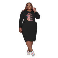 Black Fall Clothes Dresses Printed Loose Plus Size Womens Mid Dresses