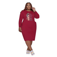Wine Red Fall Clothes Dresses Printed Loose Plus Size Womens Mid Dresses