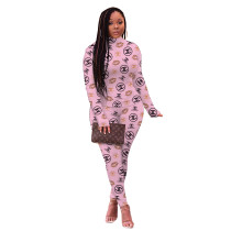 Casual Pink High Neck Printed Women Sets Two Piece