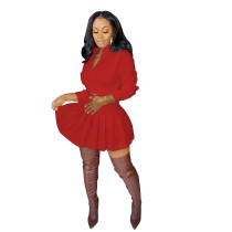 Solid Color Red Fall Dress Two Piece Pleated Skirt Set