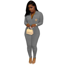 Casual Grey Zipper Lapel Embroidered Letter Jumpsuit with Pocket