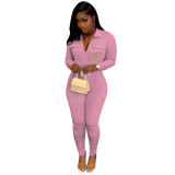 Casual Pink Zipper Lapel Embroidered Letter Jumpsuit with Pocket