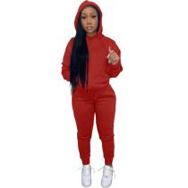 Solid Red Fleece Hooded Sweatshirt Pant Set