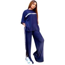 Loose Casual Dark Blue Sports Slit Stitching Women Two Piece Set
