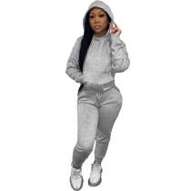 Solid Grey Fleece Hooded Sweatshirt Pant Set