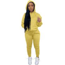 Solid Yellow Fleece Hooded Sweatshirt Pant Set