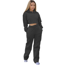 Casual Solid Black Drawstring Long Sleeve Sweatpants Hoodie Set For Women