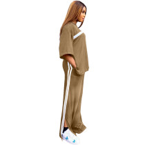 Loose Casual Khaki Sports Slit Stitching Women Two Piece Set