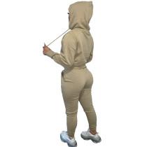 Solid Khaki Fleece Hooded Sweatshirt Pant Set