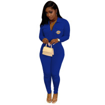 Casual Blue Zipper Lapel Embroidered Letter Jumpsuit with Pocket