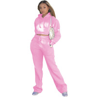 Casual Solid Pink Drawstring Long Sleeve Sweatpants Hoodie Set For Women