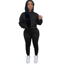 Solid Black Fleece Hooded Sweatshirt Pant Set