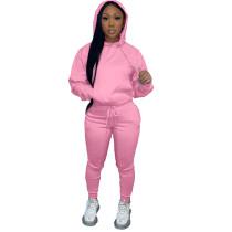 Solid Pink Fleece Hooded Sweatshirt Pant Set