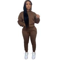 Solid Coffee Fleece Hooded Sweatshirt Pant Set