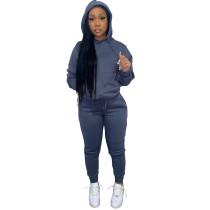Solid Fleece Hooded Sweatshirt Pant Set