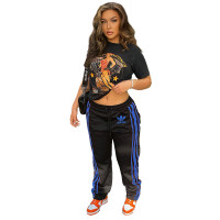 Casual Positioning Printed Drawstring Women's Trousers