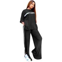 Loose Casual Black Sports Slit Stitching Women Two Piece Set