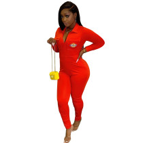 Casual Red Zipper Lapel Embroidered Letter Jumpsuit with Pocket