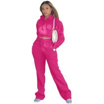 Casual Solid Rose Drawstring Long Sleeve Sweatpants Hoodie Set For Women