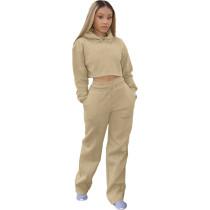 Casual Solid Khaki Drawstring Long Sleeve Sweatpants Hoodie Set For Women