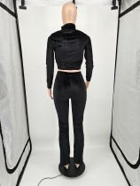 Casual Black Velvet Embroidered Letters Sports Blouse and Flared Pants