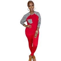 Looking Cute Cheetah 2-Piece Set Red Print O Neck Long Sleeve Fall Set