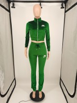 Casual Green Velvet Embroidered Letters Sports Blouse and Flared Pants