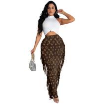 Fashion Brown Print Tassel Long Skirt