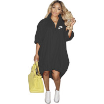 Black Women's Loose Printed Single-breasted Hem Stretchable Tailed Dress For Fall 2021